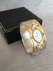 Vgc Rare Gorham Unicorn Silver And Gold Plated Bangle Mop Dial Cuff Watch Gift Box