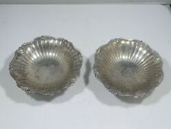 Pair Of Fine English Sterling Silver Footed Compotes With Shells Hallmarked