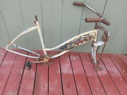 Vintage Early 1950s J C Higgins Parts Bicycle Frame Classic Tank Red Reflectors