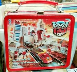Vintage 1986 Transformers Lunch Box Metal With Thermos Collectibles