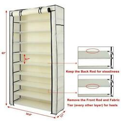 New 10 Tiers Shoe Rack Heavy Duty Dustproof Cover Closet Storage Cabinet Holder