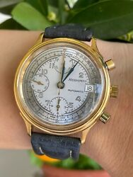 Hebdomas Watch Chronograph Automatic Valjoux 7750 Date Mens 37mm Swiss Serviced