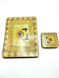 Pimpernel Table Mats Vintage Set Of 6 With Coasters Cork Backing Sunflower M1