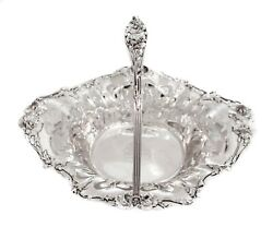 Antique 925 Sterling Silver Hand Made Floral Chased Oval Basket Centerpiece