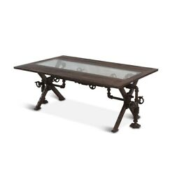 48 L Cheryl Coffee Table Steampunk Reclaimed Teak Wood Recycled Iron Industrial