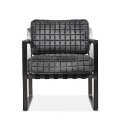 26 W Leather Arm Chair Square Tufted Distressed Black Leather Metal Modern