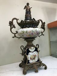 Spectacular Large Porcelain And Bronze Vase With Cherub On Top