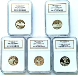 2007 S Silver Statehood Washington Quarter Set Ngc Pf 70 Ultra Cameo