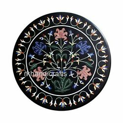 24 Inches Black Marble Coffee Table Elegant Pattern Center Table Top Home Assent