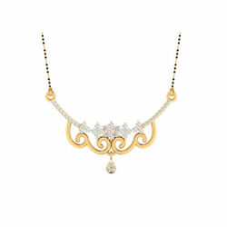 0.98 Ct Real Diamond For Women Solid 14k Yellow Gold Wedding Pendant Mangalsutra