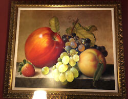 Original Andldquolarge Fruitandrdquo Signed By Victor Cadillo Painting Oil On Canvas