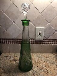 Beautiful Etched Crystal Decanter Vintage Mint Condition Green