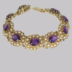 Victorian Amethyst And Seed Pearl Bracelet 9ct Gold Antique Bracelet Circa 1890