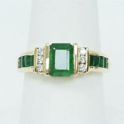 Bh Signed 14k Yellow Gold Emerald And 1/8cttw Diamond Ring B7100