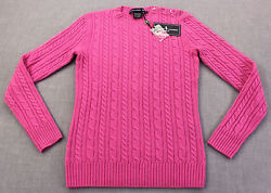 Golf Womens Pink 100 Cashmere Cable Crewneck Sweater Nwt S 425