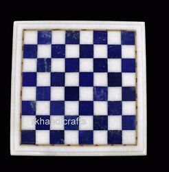 15 Inches Marble Coffee Table Top Handmade Blue Check Pattern Square Game Table
