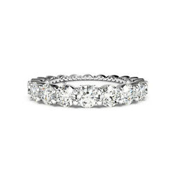 Real Diamond Wedding Engagement Eternity Bands 2.20 Ct Round Cut 14k White Gold