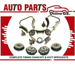 Timing Chain Kit And 4 Vvt Cam Phaser Sprockets 2004-07 Cadillac Chevy Buick 3.6l