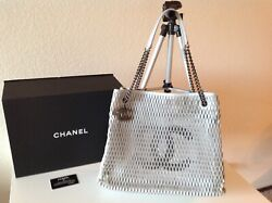 Authentic Lambskin Mesh Large Shopping Silver Cc Blk Tote Bag