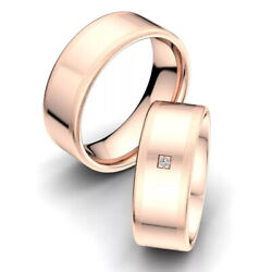 0.10ct Valentine Real Diamond Couple Band Solid 14k Rose Gold All Size Available