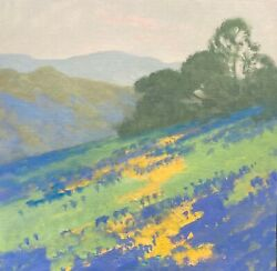 California Wildflower Poppies Color Pop Landscape Art Oil Painting Impressionism