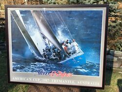 1987 Perth Yacht Club Americas Cup Poster Rare Signed By Jon Wright Crew Hof