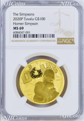 2020 Homer Simpson 100 1oz .9999 Gold Bullion Coin Ngc Ms69 Brown Label