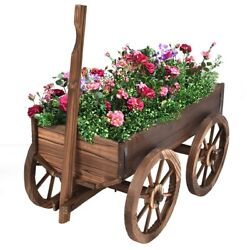 New Wooden Wagon Cart Flower Planter Pot Stand With Wheels