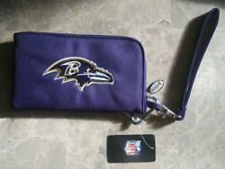 Baltimore Ravens Nfl Curve Zip Organizer Ladies Wallet With Touch Screen