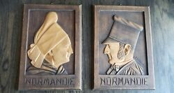Old Wood French Folk Art Wall Plaquesnormandie J. Bataille