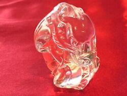 """Vintage Steuben Glass Crystal 2.5"""" Dragon Hand Cooler / Paperweight Signed"""