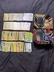 Hundreds Of Pokemon Cards Non-holographic With Tins Great Condition