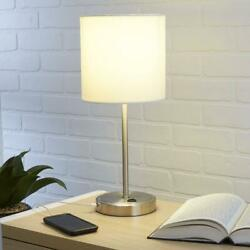 Silver Lamp Usb Port Charge Modern Bedside Office Living Room Table Small Space