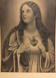 Original Antique Sketch Immaculate Heart Of Mary Signed Wilena Lowther 1921