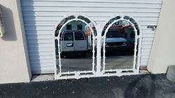 Vintage Mid Century Gampel - Stoll Double Arch Faux Bamboo Wall Mirror 1975