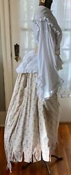 Antique Post Civil War 1870's 2 Pc. Gown White Cotton Blouse And Floral Skirt