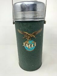 Vintage Old Stainless Steel Top Collectible Lawas Eagle Brand Tin Hot Thermos