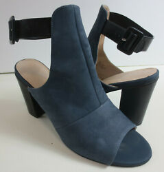 Seychelles Booties 10 Discovery Open Toe High Block Heel Blue Leather Womens