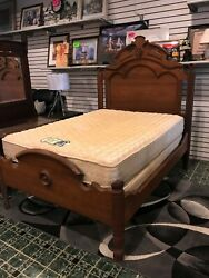Antique Solid Wood Full Size Bed W/ Mattress Included And Victorian Dress