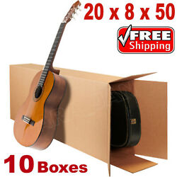 20x8x50 Acoustic Guitar Shipping Packing Boxes Moving Keyboard Heavy Duty 10pcs