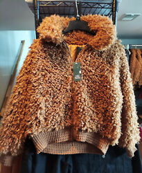 Wild Fable Womens Long Sleeve Fullzip Sherpa Jacket Cognac Brown Xssmlxlxxl