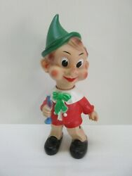 Vintage Italian Pinocchio Rubber Squeaker Toy Doll Elephant Brand Works Trumpet