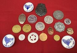 Vintage Lot 19 Metal Tokens Plastic Coins Rare Badge Good Luck Angel Round Tuit