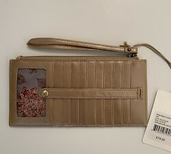NWT Hobo International KIMI Credit Card Slide Stacker Wallet Wristlet Gold Dust $44.00