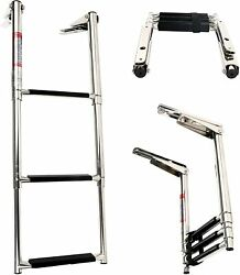 Boat Yacht 3-step Stainless Steel Telescoping Dive Sport Ladder With Slide Mount