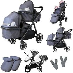 Isafe Tandem Double Pram Travel System - Cookie + 2x Car Seat With Adapters