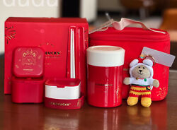Starbucks 2021 China The New Year Thermos Red Bento Box And Hand Bag And Tableware