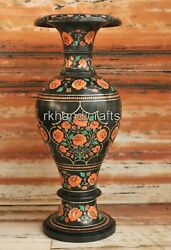 21 Inches Marble Flower Vase Home Decor Flower Pot With Carnelian Stone Work