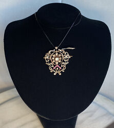 Victorian Rose Gold Silver Topped Rose-cut Diamond Ruby Antique Brooch Pendant