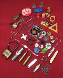 Vintage Lot 47 Pieces Collectibles Knives Lighter Pins Variety Advertising Old